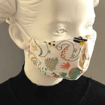 "Fashion Mask For Kids ""Dino World White"""