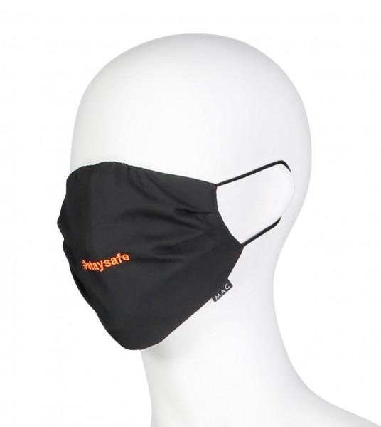 """MAC-Masken """"Stay Safe Black"""" Zweierpack mit Aufbewahrungssäckchen"""